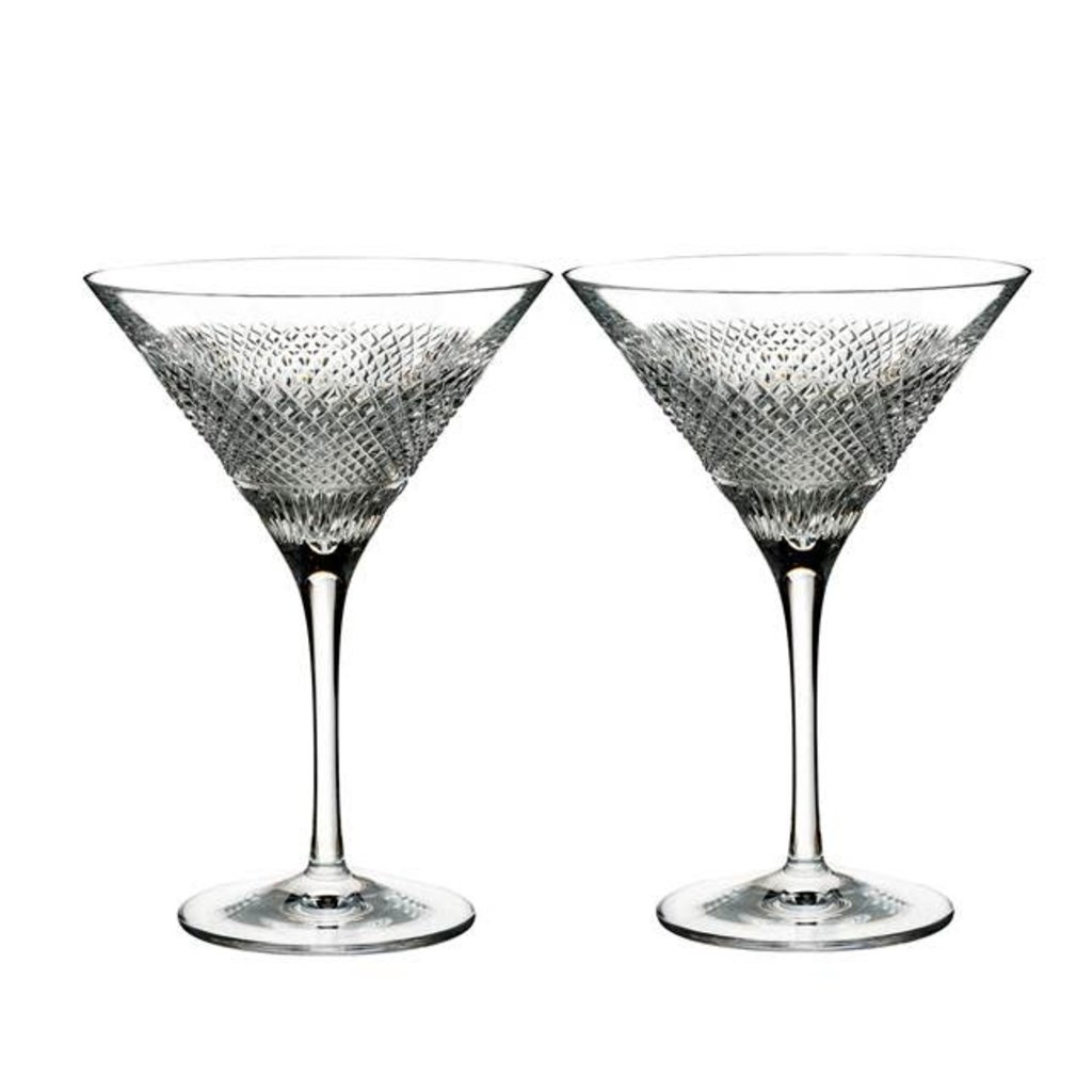 WATERFORD Diamond Line Martini 6.7 Oz Set/2