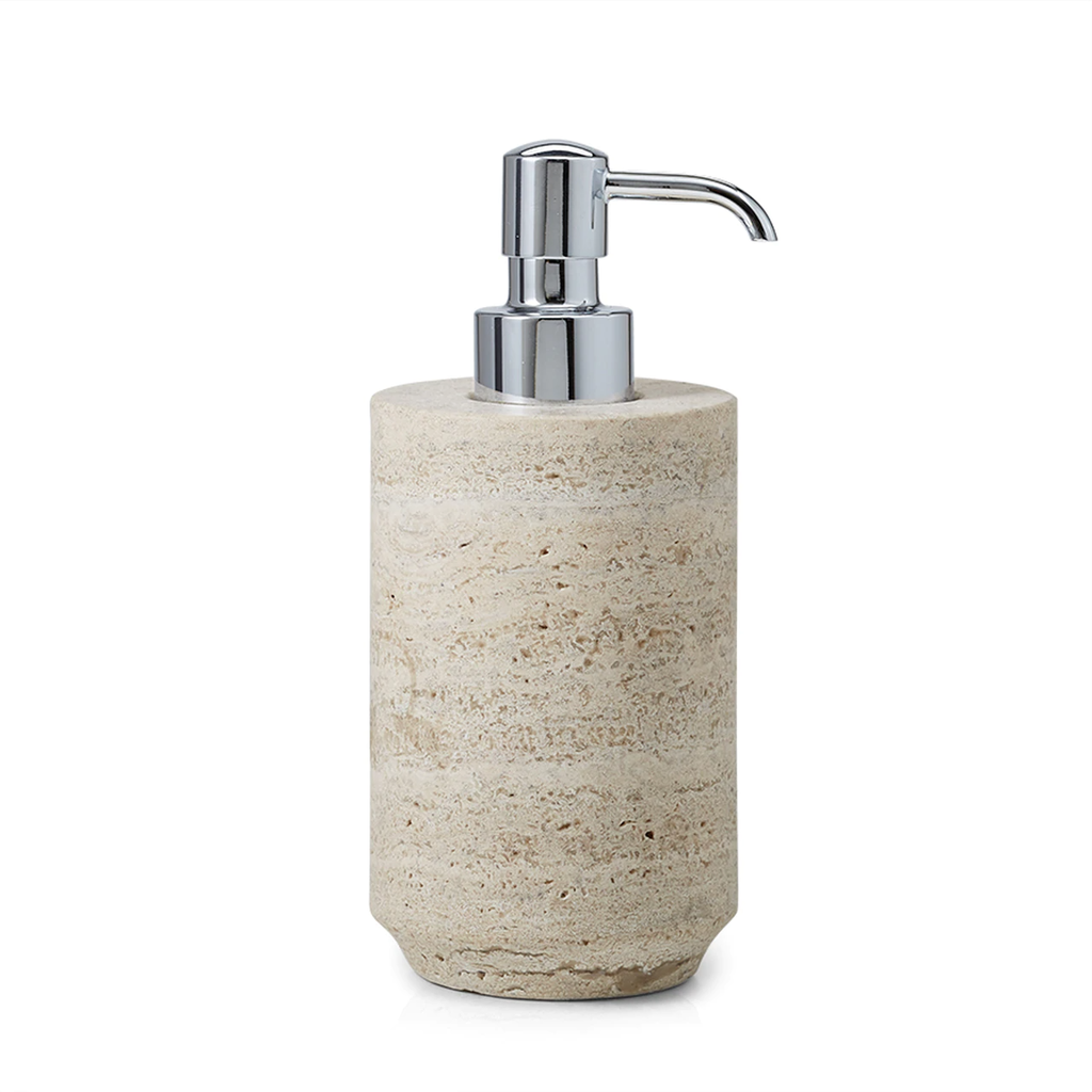 LABRAZEL Aztec Travertine Marble & Polished Chrome Soap Dispenser in Sand & Tan