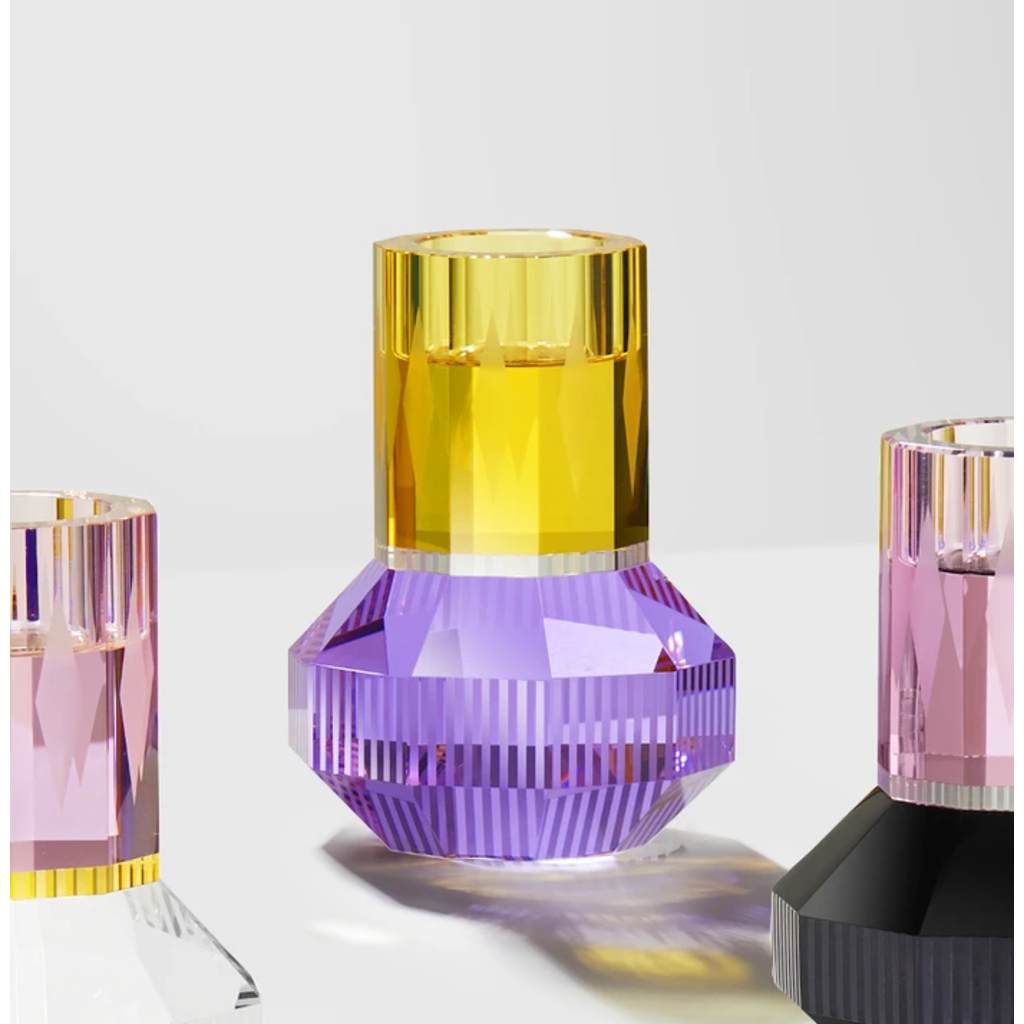 REFLECTIONS COPENHAGEN Chicago Yellow, Clear & Purple Tealight Candle Holder in Fine Crystal