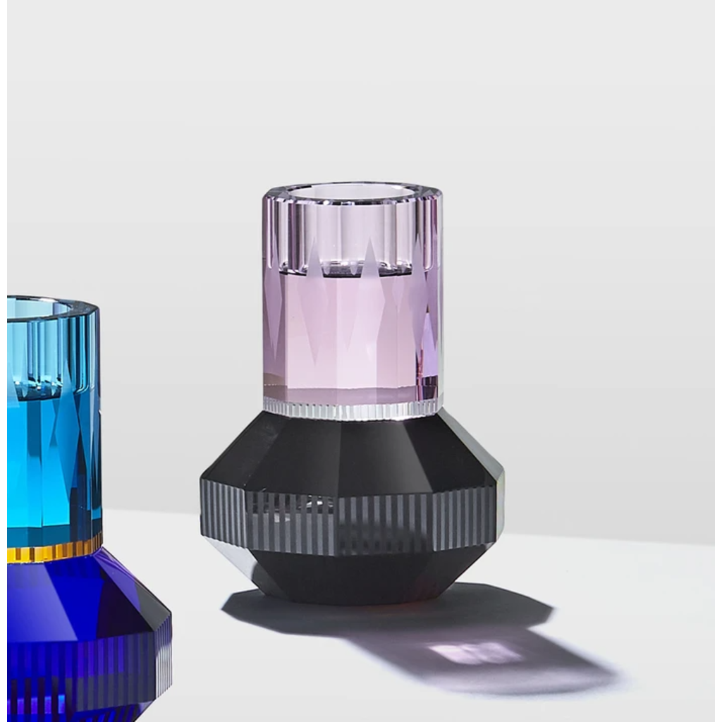REFLECTIONS COPENHAGEN Bougeoir Chicago Rose, transparent et noir en cristal fin