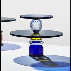 REFLECTIONS COPENHAGEN Plateau à dessert Dallas Cobalt, transparent, noir et jaune en cristal fin