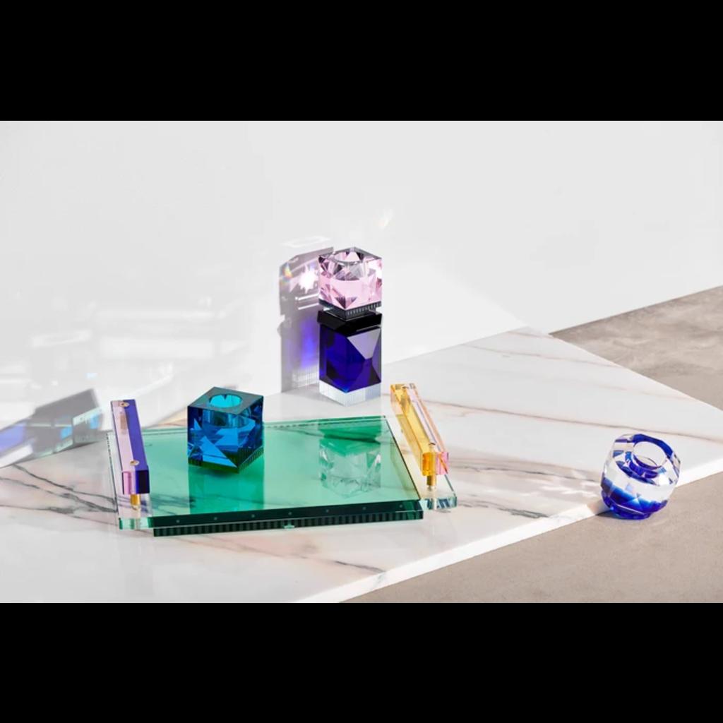 REFLECTIONS COPENHAGEN Plateau de service Panama transparent, rose, cobalt, jaune et émeraude en cristal fin