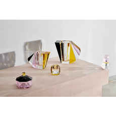 REFLECTIONS COPENHAGEN Grand Manhattan Brown, Rose, Clear & Yellow Vase in Fine Crystal