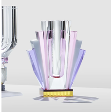 REFLECTIONS COPENHAGEN South Beach Clear, Pink, White, Purple & Yellow Art Deco Vase in Fine Crystal
