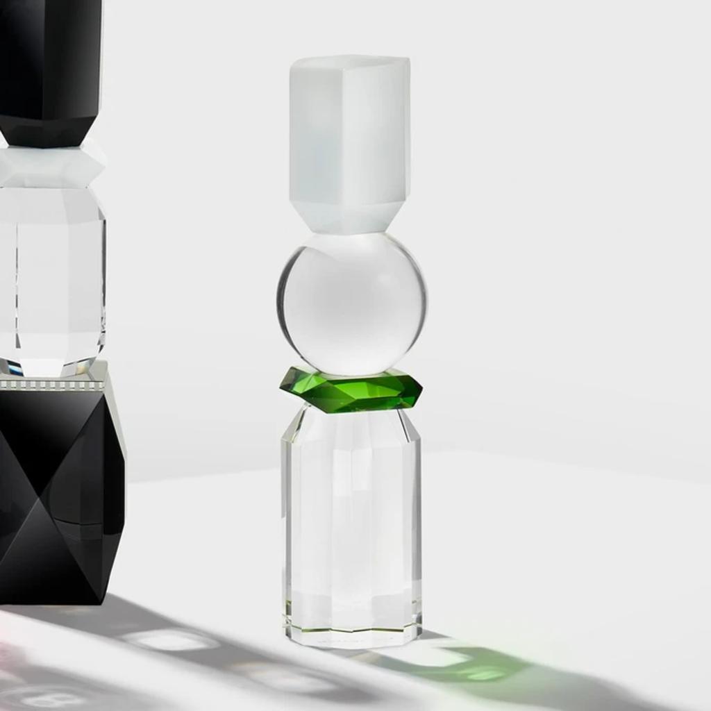 REFLECTIONS COPENHAGEN Bougeoir Memphis blanc, transparent et vert en cristal fin