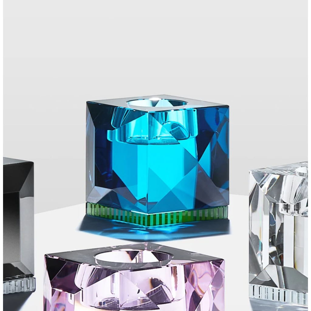 REFLECTIONS COPENHAGEN Bougeoir Ophelia Azure & Vert en cristal fin
