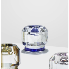 REFLECTIONS COPENHAGEN Texas Clear & Cobalt Tealight Candle Holder in Fine Crystal