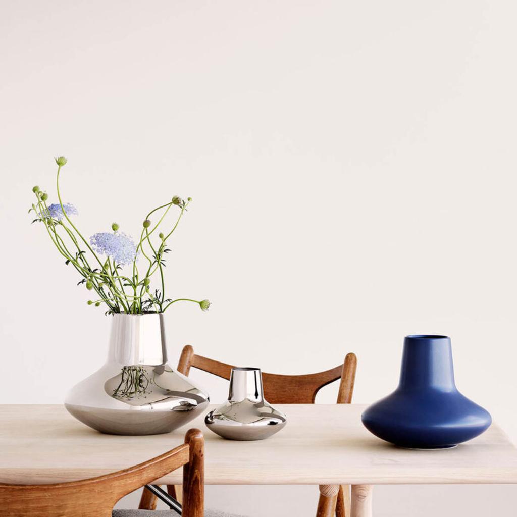 GEORG JENSEN Koppel Small Vase in Polished Stainless Steel