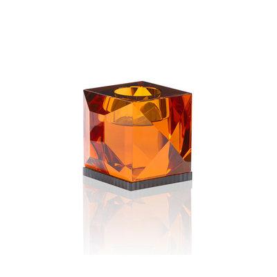 REFLECTIONS COPENHAGEN Ophelia Crystal Tealight Candle Holder - Amber & Black