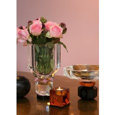 REFLECTIONS COPENHAGEN Ophelia Amber & Black Tealight Candle Holder in Fine Crystal
