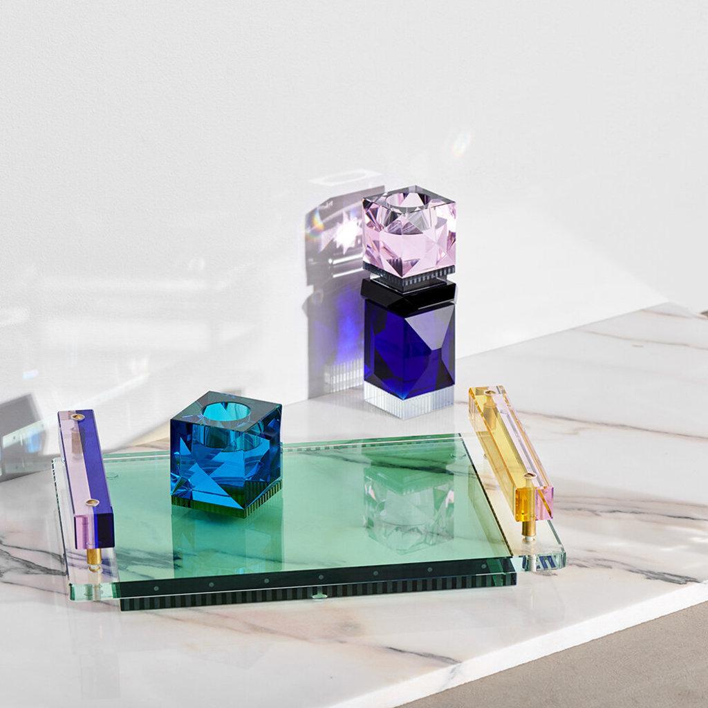 REFLECTIONS COPENHAGEN Bougeoir Miami Rose, noir, transparent et cobalt en cristal fin