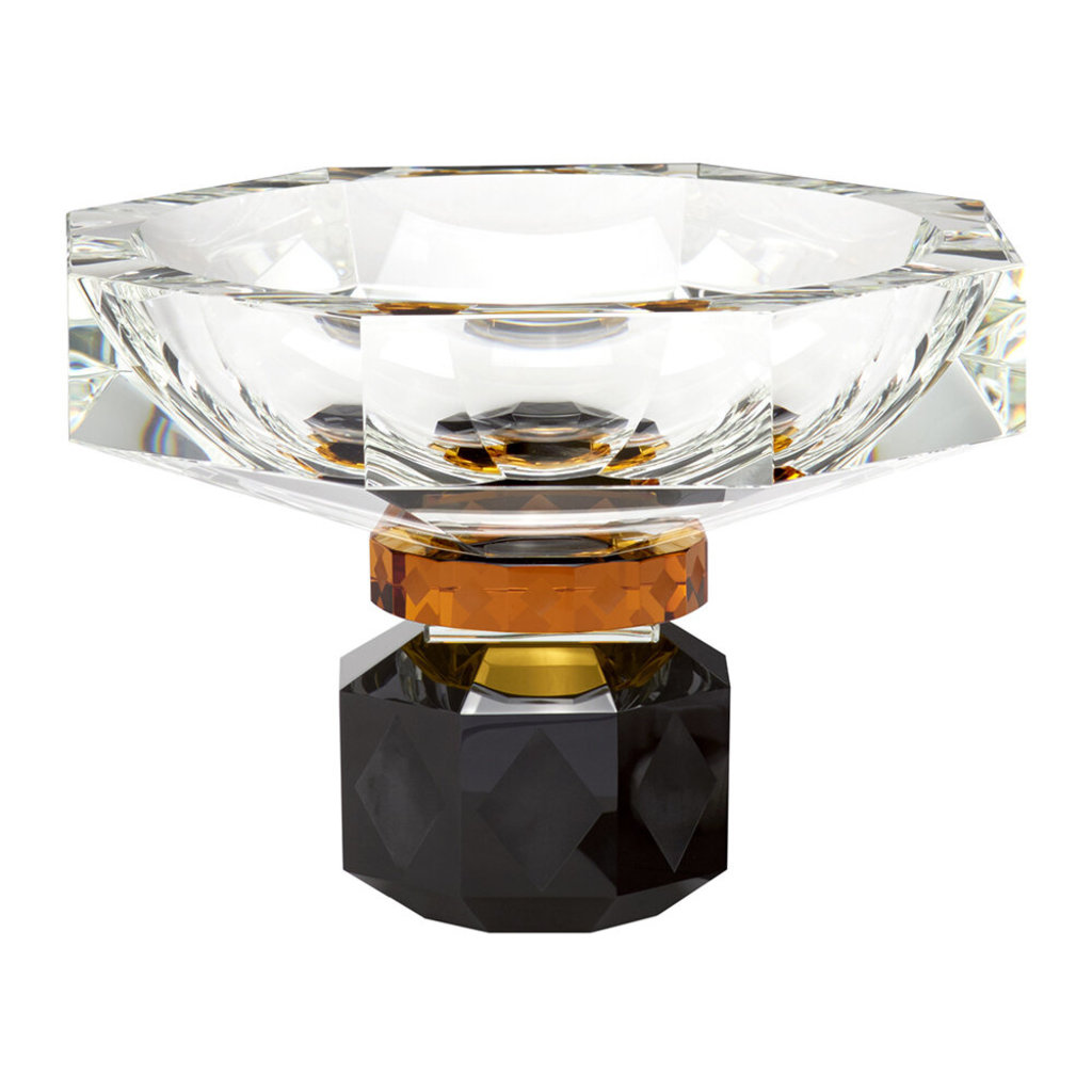 REFLECTIONS COPENHAGEN Arizona Clear, Amber & Black Footed Bowl in Fine Crystal