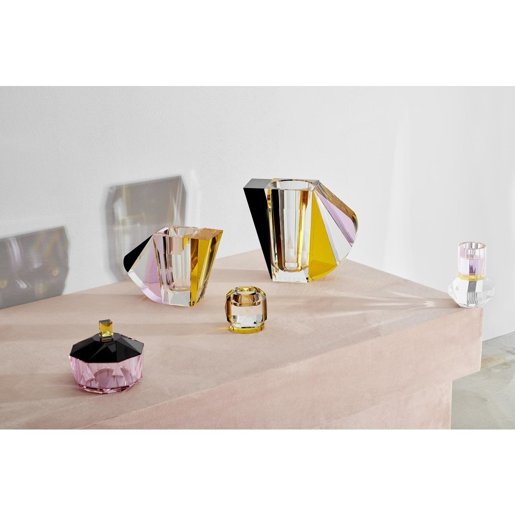REFLECTIONS COPENHAGEN Texas Clear, Brown & Yellow Tealight Candle Holder in Fine Crystal