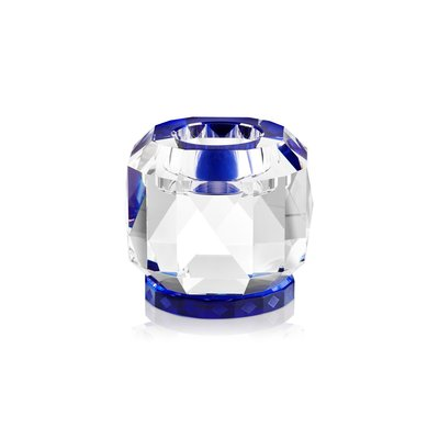 REFLECTIONS COPENHAGEN Texas Crystal Tealight Candle Holder - Clear & Cobalt