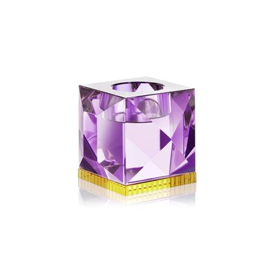 REFLECTIONS COPENHAGEN Ophelia Crystal Tealight Candle Holder - Purple & Yellow