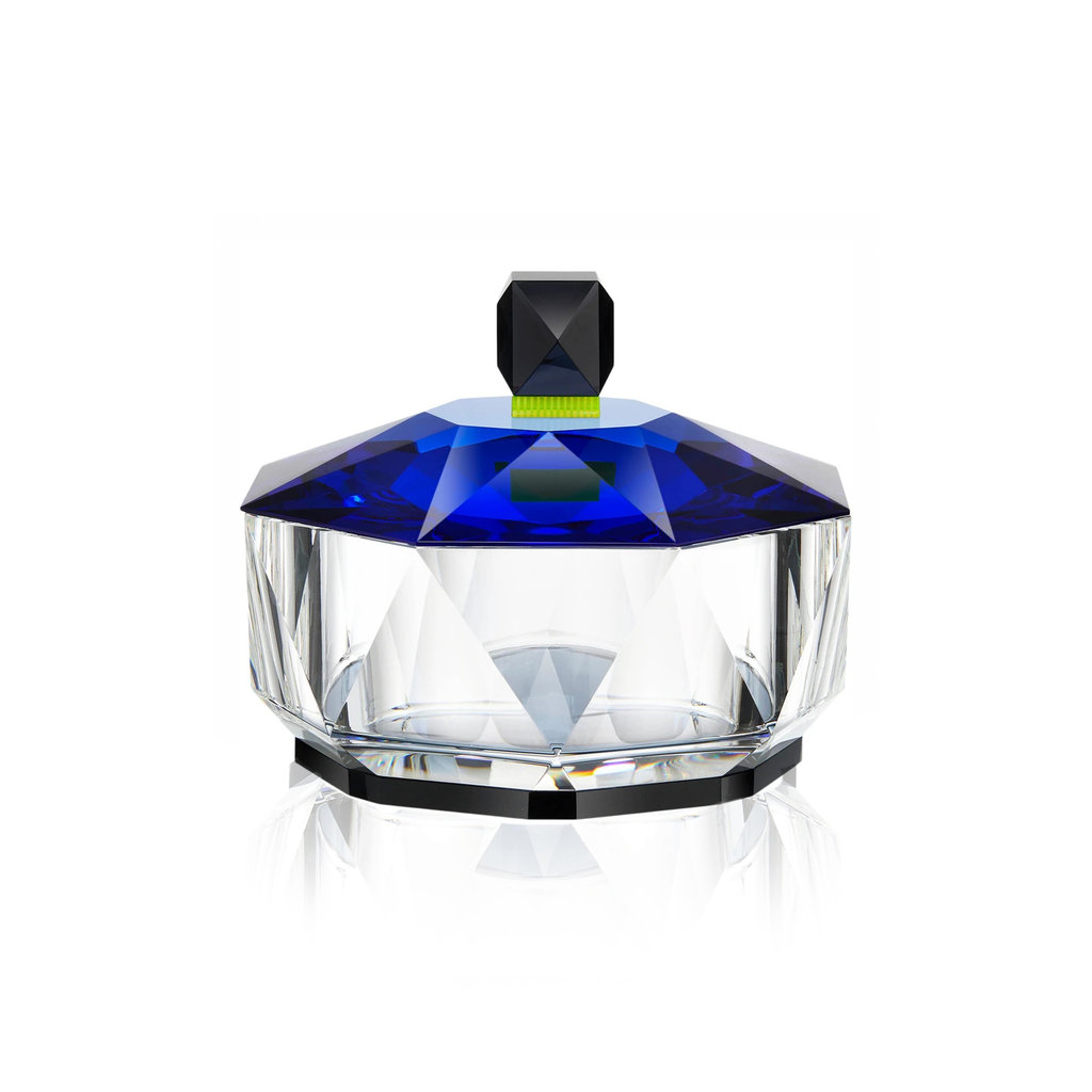 REFLECTIONS COPENHAGEN Grand New Haven Clear, Light Blue, Grey & Yellow Keepsake Canister in Fine Crystal