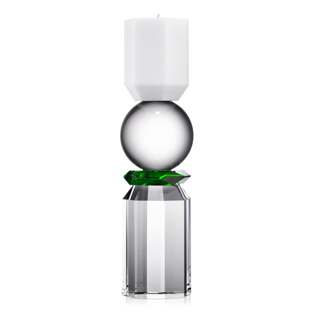 REFLECTIONS COPENHAGEN Memphis White, Clear & Green Tealight Candle Holder in Fine Crystal