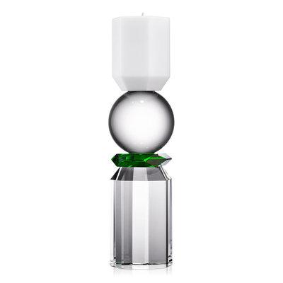 REFLECTIONS COPENHAGEN Bougeoir en cristal Memphis - Blanc, transparent et vert