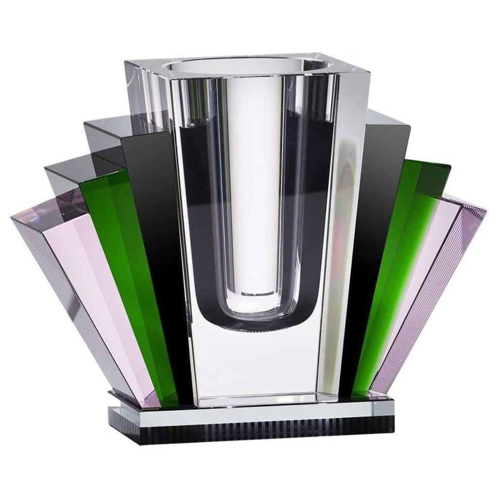 REFLECTIONS COPENHAGEN Harlem Rose, Green, Black & Clear Art Deco Vase in Fine Crystal