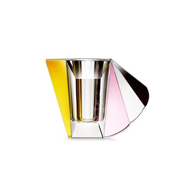 REFLECTIONS COPENHAGEN Manhattan Crystal Vase  - Brown, Rose, Clear & Yellow
