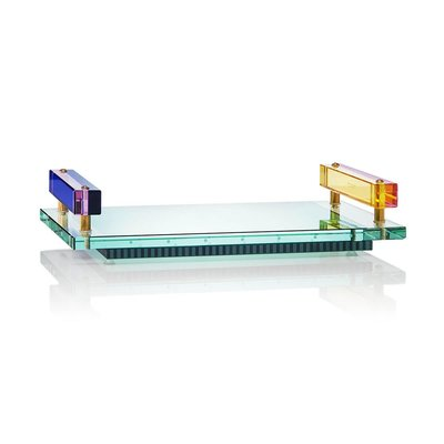 REFLECTIONS COPENHAGEN Panama Crystal Serving Tray - Clear, Rose, Cobalt, Yellow & Emerald