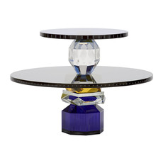 REFLECTIONS COPENHAGEN Dallas Cobalt, Clear, Black & Yellow Dessert Tray in Fine Crystal