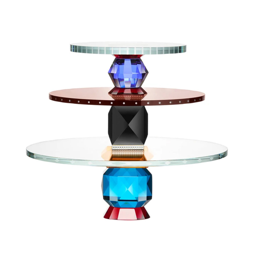 REFLECTIONS COPENHAGEN Oklahoma Clear, Red, Light Blue, Azure, Amber & Smoke Rose Dessert Tray in Fine Crystal
