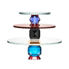 REFLECTIONS COPENHAGEN Plateau à dessert en cristal fin Oklahoma Clair, Red, Light Blue, Azure, Amber & Smoke Rose