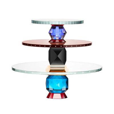 REFLECTIONS COPENHAGEN Oklahoma Crystal Dessert Tray - Clear, Red, Light Blue, Azure, Amber & Smoke Rose