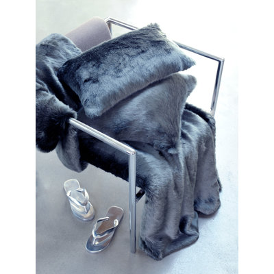 Faux Fur Throw Blanket Anthracite Grey 140 x 200 cm
