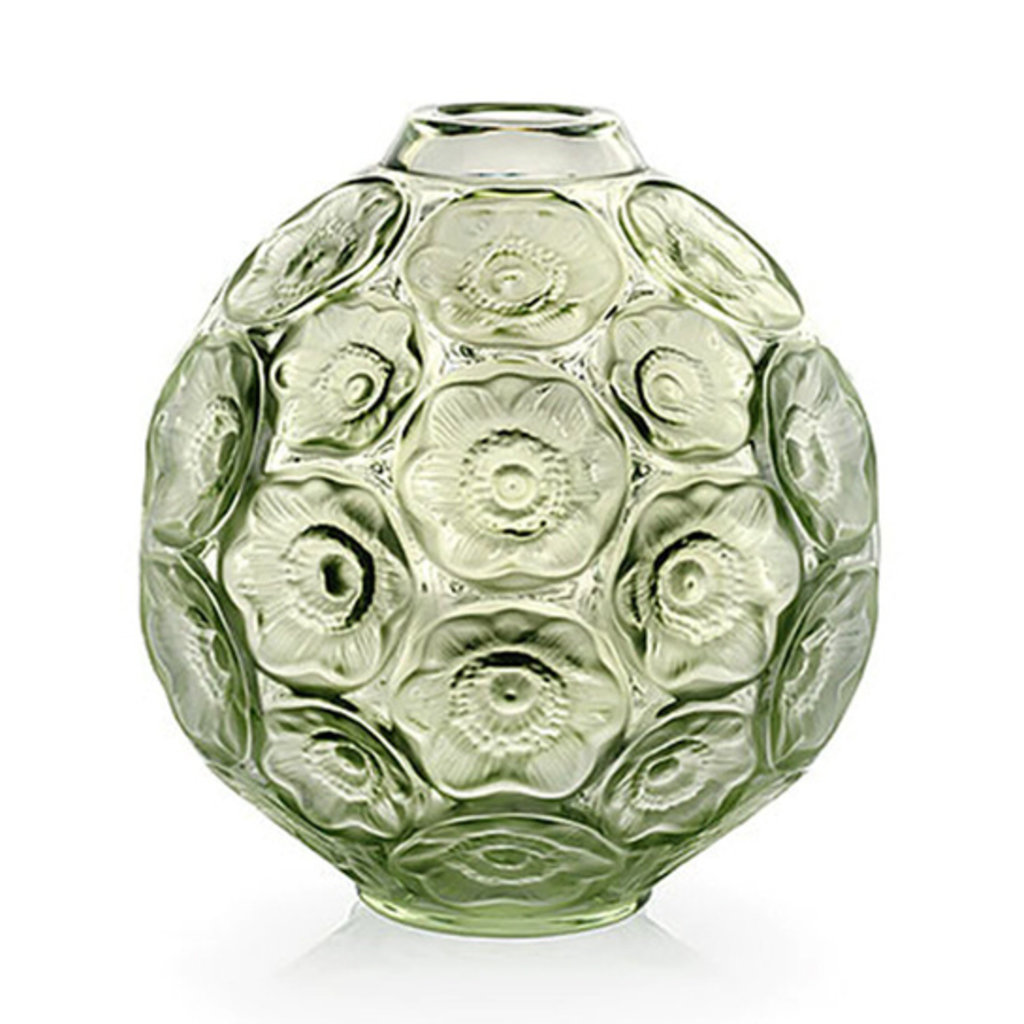 LALIQUE Anemones Bud Vase Green