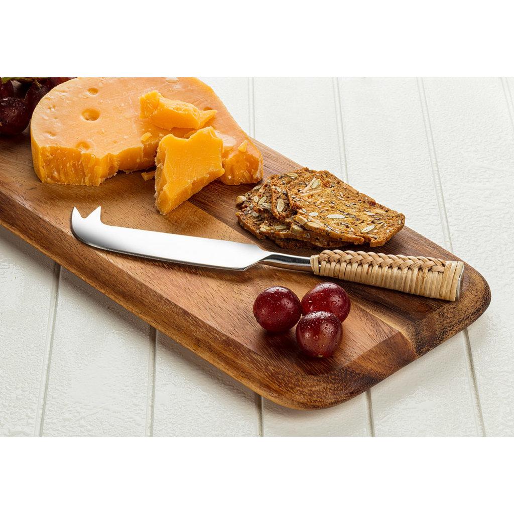 """ABBOTT  Couteau à fromage avec manche en rotin 7 """"L"""