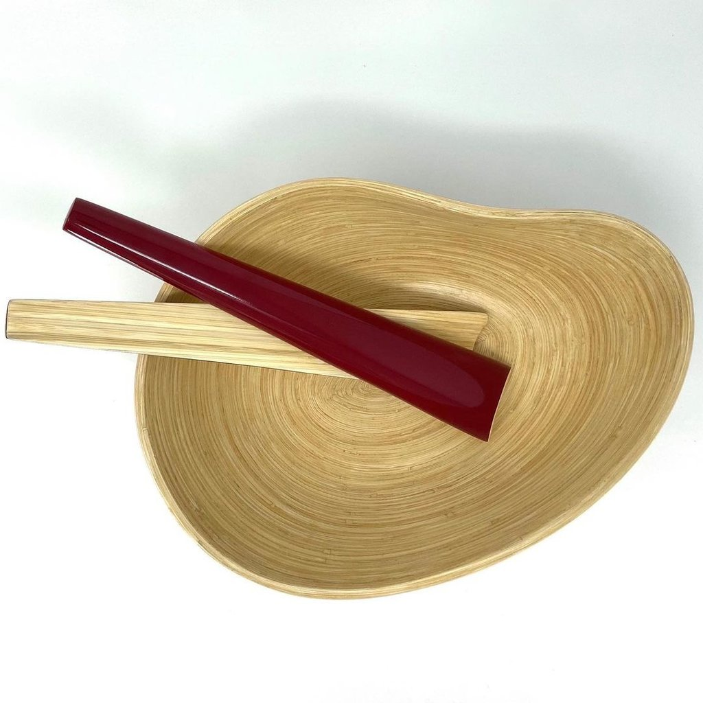 "BIBOL Bamboo Servers - ""Tia"" Gloss Colors Medium/Red"