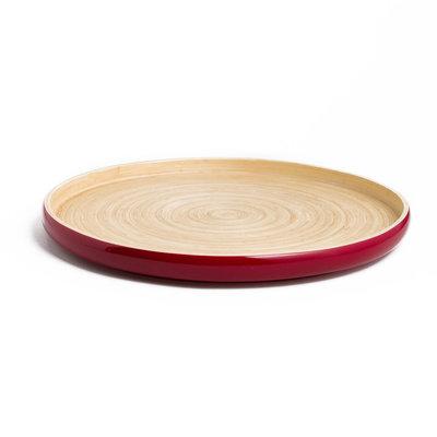 """BIBOL Bamboo Platter - """"Khay"""" Tray Medium/Red"""