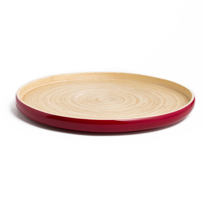 "BIBOL Bamboo Platter - ""Khay"" Tray Large/Red"
