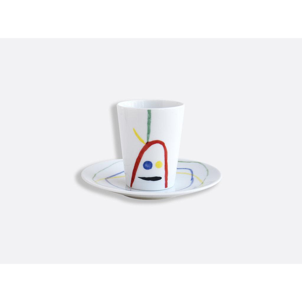BERNARDAUD A Toute Epreuve - Joan Miro Ensemble de 2 Tasses à Café et Soucoupes Assorties