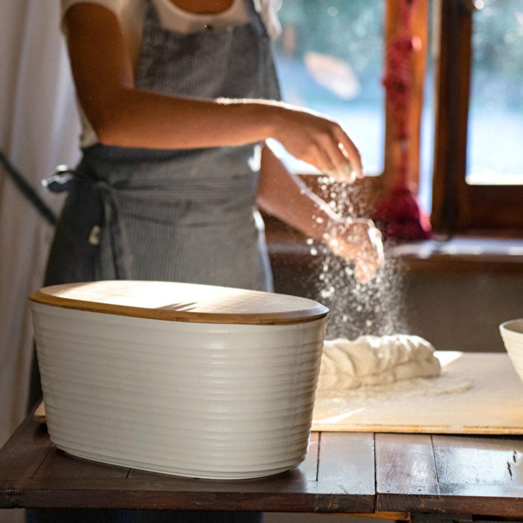 GUZZINI Tierra BreadBinW/Bamboo BreadboardTop Milk White