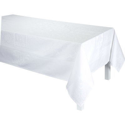 LE JACQUARD FRANCAIS Siena Tablecloth 69'' X 98'' White