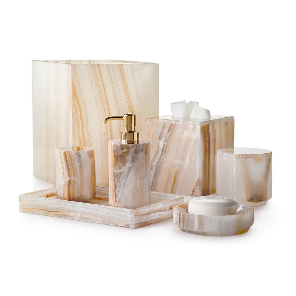 LABRAZEL Gobelet à brosse à dents Ambarino Onyx en blanc et caramel