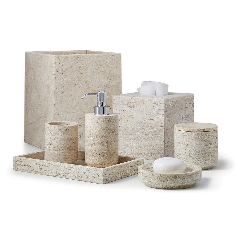LABRAZEL Porte-savon aztèque en marbre travertin sable et beige