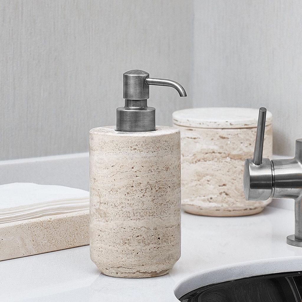 LABRAZEL Distributeur de savon Aztèque en marbre travertin et chrome poli sable & bronze