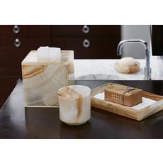 LABRAZEL Ambarino Onyx Waste Basket in White & Caramel