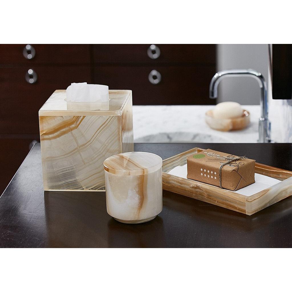 LABRAZEL Distributeur de savon Ambarino Onyx & laiton brossé en blanc et caramel