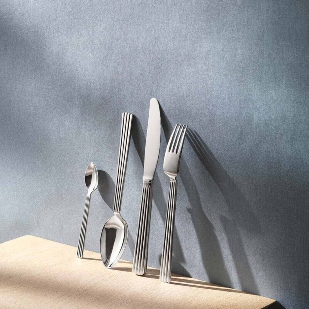 GEORG JENSEN Bernadotte Salad Serveware Set in Polished Stainless Steel
