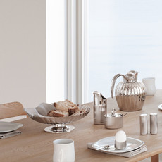 GEORG JENSEN Bernadotte Sugar Bowl with Spoon in Polished Stainless Steel