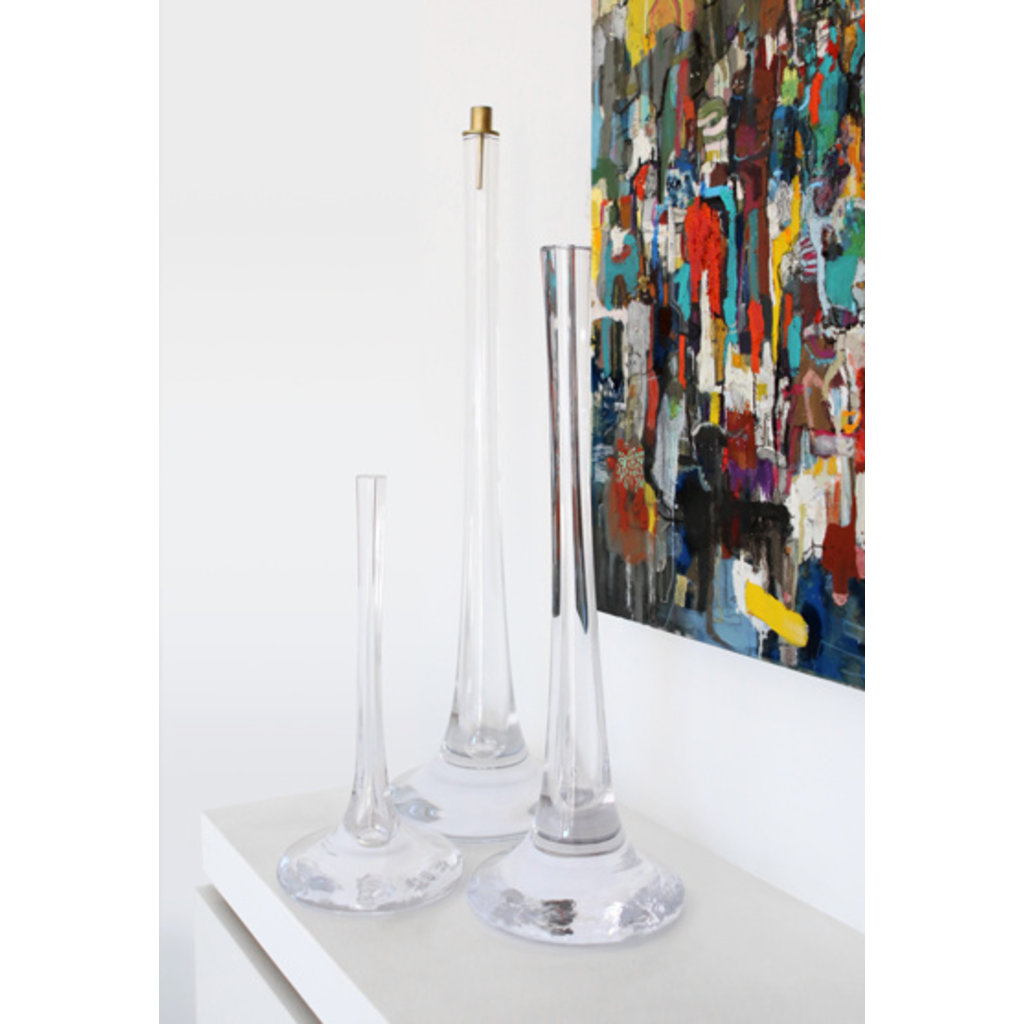 SKLO Puddle Vase & Candlestick (58 x 20cm) in Clear Glass