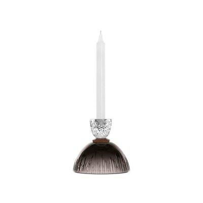 SAINT-LOUIS Les Endiablés small clear & flannel-grey candlestick