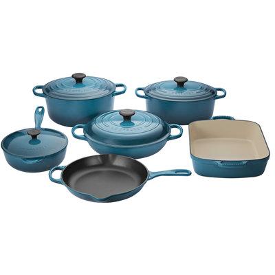 LE CREUSET LE CREUSET 10 Piece Enameled Cast Iron Cookware Set Teal