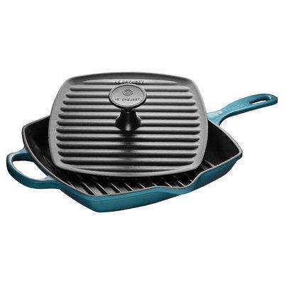LE CREUSET 23cm Ensemble de poêle grill carrée avec presse à panini Teal