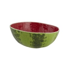 BORDALLO PINHEIRO Green & Red Watermelon Medium Salad Serving Bowl in Ceramic